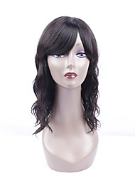 cheap -Women Human Hair Lace Wig Brazilian Remy Lace Front 130% Density With Bangs Natural Wave Wig Black Short Medium Length Virgin