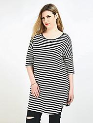 cheap -Cute Ann Women's Active Plus Size T-shirt - Striped