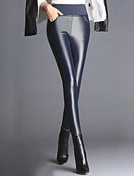 Mujer Simple Microelástico Ajustado Pantalones,Ajustado Un Color