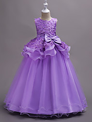 Ball Gown Floor Length Flower Girl Dress - Organza Sleeveless Jewel Neck with Appliques Sash / Ribbon Cascading Ruffles by YDN