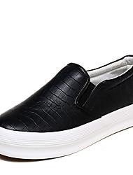 Недорогие -Жен. Обувь Полиуретан Весна / Лето Удобная обувь Мокасины и Свитер На плоской подошве Круглый носок Комбинация материалов Белый / Черный