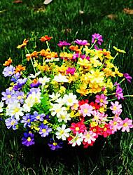 6 pcs plantes artificielles saut d'orchidée chrysanthème 7 forks mélange de couleurs