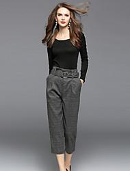 economico -Camicia Pantalone Completi abbigliamento Da donna Per uscire Casual Moda città Autunno,Tinta unita A quadri Rotonda Con perline Manica