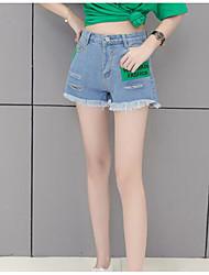 cheap -Women's Mid Rise Micro-elastic Slim Wide Leg Jeans Shorts Pants,Casual Color Block Letter Summer