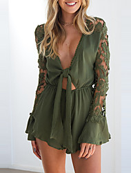 cheap -Women's Party Club Sexy Street chic Patchwork Deep V Rompers,Wide Leg Long Sleeve Spring Fall Polyester