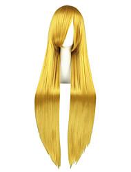 economico -Donna Molto lungo Kinky liscia Biondo dorato Manga Parrucca Cosplay Parrucca per travestimenti