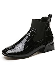 Feminino Sapatos Couro Ecológico Outono Botas da Moda Botas Ponta Redonda Botas Cano Médio Elástico Para Casual Preto