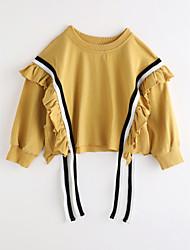 cheap -Girls' Solid Blouse,Cotton Fall Long Sleeve Light Brown