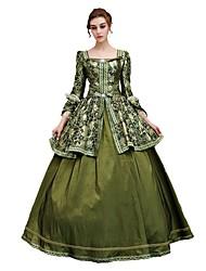 abordables -Victorien Rococo Costume Femme Adulte Bal Masqué Costume de Soirée Bleu Vintage Cosplay Satin Manches 3/4 Longueur Sol