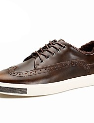 cheap -Men's Shoes Cowhide Spring Fall Comfort Sneakers Lace-up For Casual Black Coffee Burgundy