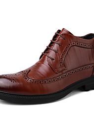 Недорогие -Муж. обувь Дерматин Кожа Зима Весна Удобная обувь Ботинки Ботинки для Повседневные Черный Коричневый