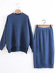 Women's Beach Simple Spring Fall Hoodie Skirt Suits,Solid Round Neck Long Sleeve Micro-elastic