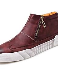 baratos -Masculino sapatos Couro Ecológico Outono Inverno Conforto Tênis Ziper Para Casual Preto Marron Vinho