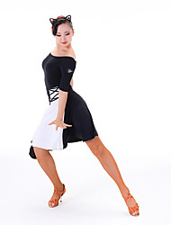 cheap -Latin Dance Women's Performance Chinlon Milk Fiber Half Sleeves Dress