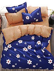 preiswerte -Bettbezug-Sets Solide 4 Stück Reaktivdruck 4-teilig (1 Bettbezug, 1 Bettlaken, 2 Kissenbezüge)