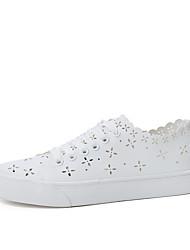 preiswerte -Damen Schuhe PU Frühling Sommer Komfort Sneakers Flacher Absatz Runde Zehe Tupfen für Normal Draussen Weiß