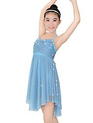 baratos -Balé Vestidos Mulheres Crianças Espetáculo Elástico Lycra Fru-Fru Sem Manga Natural Vestido Decoração de Cabelo