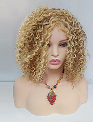 Women Synthetic Wig Capless Medium Length Spiral Curl Blonde Highlighted/Balayage Hair With Bangs Natural Wigs Costume Wig