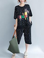 Damen Tierfell-Druck Einfach Lässig/Alltäglich T-Shirt-Ärmel Hose Anzüge,Rundhalsausschnitt Sommer Halbe Ärmel Unelastisch