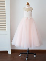 Princess Floor Length Flower Girl Dress - Tulle Sleeveless Halter with Appliques Buttons by Thstylee