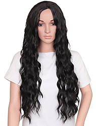 abordables -Pelucas sintéticas Pelo sintético Raya en medio Negro Peluca Mujer Larga Sin Tapa