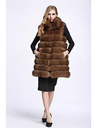 Feminino Colete Casual Sofisticado Outono Inverno,Sólido Longo Pêlo de Raposa Colarinho Chinês