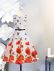 abordables -Robe Fille de Anniversaire Sortie Vacances Couleur Pleine Fleur Coton Polyester Printemps Eté Sans Manches Robes Style vintage Motif