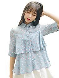 cheap -Women's Daily Casual Blouse,Polka Dot Shirt Collar Short Sleeves Cotton