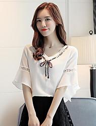 preiswerte -Damen Solide Einfach Lässig/Alltäglich Bluse,V-Ausschnitt Kurzarm Baumwolle