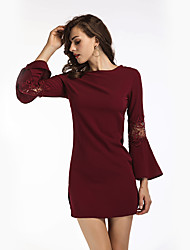 Women's Holiday Casual/Daily Bodycon Dress,Solid Round Neck Mini Long Sleeves Polyester Fall Winter High Rise Inelastic Medium