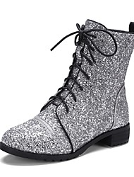 cheap -Women's Shoes Glitter Spring / Fall Novelty / Fashion Boots Boots Chunky Heel Round Toe Booties / Ankle Boots Lace-up Black / Silver / Party & Evening