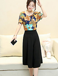 cheap -Women's Daily Vintage Casual Summer Blouse Pant Suits,Floral Round Neck Short Sleeve Cotton Micro-elastic