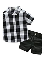 abordables -bébé Ensemble de Vêtements Garçon Coton Treillis Coton Eté Manches courtes Damier Noir