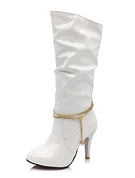 cheap -Women's Shoes Patent Leather Fall Winter Fashion Boots Boots Stiletto Heel Round Toe Mid-Calf Boots Imitation Pearl Chain For Casual