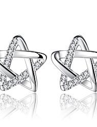 cheap -Women's Stud Earrings Cubic Zirconia Silver Plated Star Jewelry Silver Valentine Date Costume Jewelry