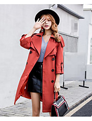 cheap -Women's Daily Simple Casual Winter Fall Trench Coat,Solid Peaked Lapel Long Sleeve Long Others