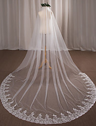 cheap -One-tier Wedding Veil Cathedral Veils With Applique Lace Tulle