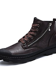 cheap -Men's Shoes Leatherette Winter Fall Comfort Sneakers Split Joint for Casual Black Brown