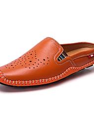 abordables -Homme Chaussures Cuir Eté Confort Sabot & Mules Pour Décontracté Blanc Noir Orange