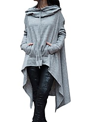 cheap -Women's Plus Size Long Sleeves Cotton Long Hoodie - Solid