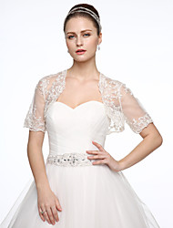 cheap -Tulle Wedding Party / Evening Women's Wrap With Appliques Shrugs