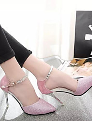 cheap -Women's Shoes Nubuck leather PU Spring Fall Basic Pump Heels Stiletto Heel For Casual Blushing Pink Silver Gold
