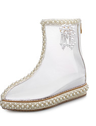 cheap -Women's Shoes Net Spring Fall Comfort Fashion Boots Transparent Shoes Boots Low Heel Beading Pearl for Dress Party & Evening White