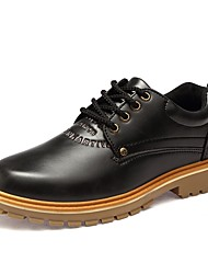 cheap -Men's Shoes Leather Spring Fall Comfort Oxfords Lace-up For Casual Dark Brown Light Brown Black