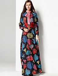Mary Yan & Yu Women's Party Daily Cute Boho Street chic Swing Dress,Floral Shirt Collar Maxi Long Sleeves Cotton Polyester Winter Fall Mid Rise