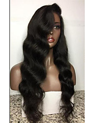 Women Human Hair Lace Wig Brazilian Human Hair Full Lace 130% Density Layered Haircut With Baby Hair Body Wave Wig Black Medium Brown