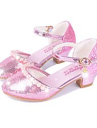 preiswerte -Mädchen Schuhe Künstliche Mikrofaser Polyurethan Frühling Herbst Komfort Neuheit High Heels Perle Schnalle Für Kleid Gold Silber Rosa