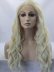 Women Synthetic Wig Lace Front Long Wavy Blonde Side Part With Bangs Natural Wigs Costume Wig