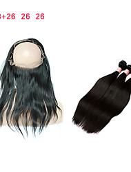 Недорогие -Натуральные волосы Реми Перуанские волосы горячий Высокое качество Прямой силуэт Наращивание волос 4 Черный