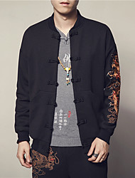 Men's Casual/Daily Chinoiserie Fall Jacket,Print Stand Long Sleeve Regular Others